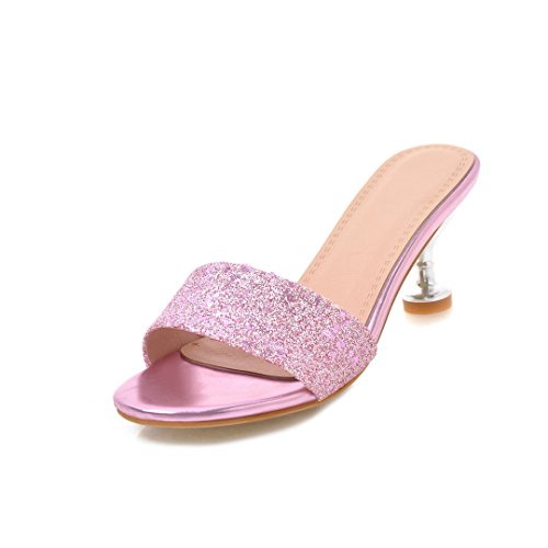 Primavera Un e Moda Tacchi Colore a Party Serate Estate Gold Spillo Slipper 37 Womens's Silver per Shoes Dimensione New Red Paillettes FUxW5q