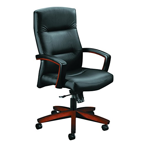 HON 5001COSS11 Executive High-Back Swivel/Tilt Chair Leather/Cognac, Black by HON