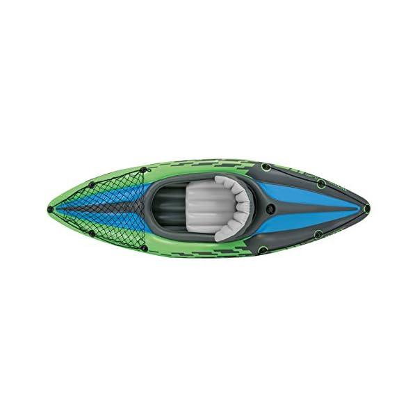 Intex Schlauchboot Aufblasbares Kajak Boot Challenger K1 Phthalates Free Inkl. 84 Paddel und Luftpumpe, 274 X 76 X 33 cm…