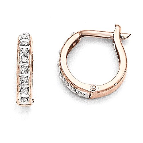 ICE CARATS 14k Rose Gold Diamond Fascination Round Hinged Hoop Earrings Ear Hoops Set Fine Jewelry Gift Set For Women Heart by ICE CARATS