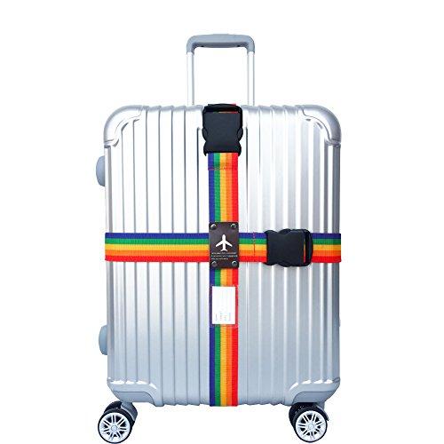 WESTONETEK Heavy Duty Detachable Adjustable Long Cross Travel Luggage Strap Packing Belts Suitcase Bag Security Straps, Rainbow by WESTONETEK