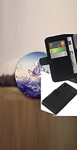 LECELL--Cuero de la tarjeta la carpeta del tirón Smartphone Slots Protección Holder For Sony Xperia Z2 D6502 -- Paisaje de montaña --