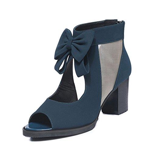 Tamaño de altos Azul mujeres grueso moda UK4 Color 5 ZHIRONG Sandalias Talón pescado 5 de Zapatos Hollow Boca Punta abierta 6 Tacones CN37 Net Pajarita EU37 Yarn de 5CM las Azul romanos zS747qwWUX