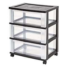 IRIS USA, Inc ETA Hand2Mind 3-Drawer Mobile Storage Chest, Clear Plastic
