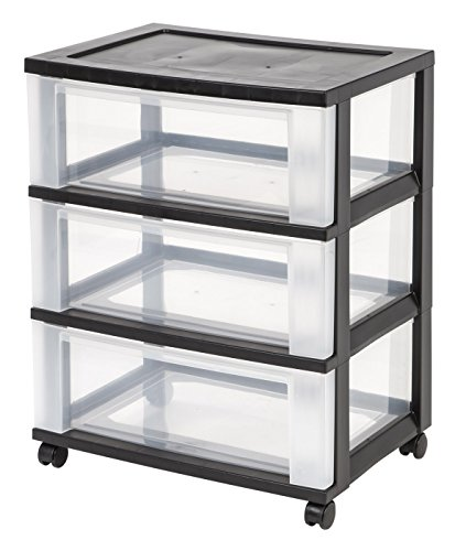 IRIS 3Drawer Wide Cart Black