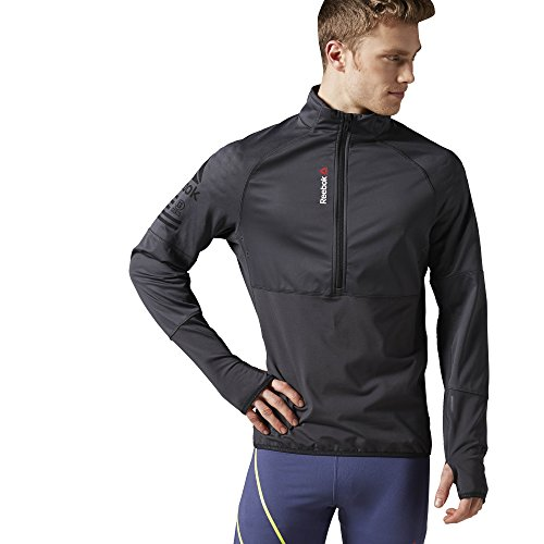 Reebok Men's One Series Hex Thermal Speedwick 1/4 Zip Jacket, XX-Large, Coal S16-R