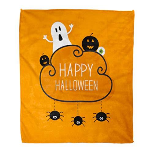 Golee Throw Blanket Ghost Pumpkin Eyeball Three Hanging Spiders Happy Halloween Cloud Orange 60x80 Inches Warm Fuzzy Soft Blanket for Bed Sofa -