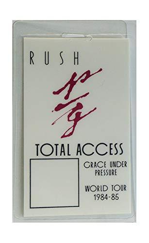 "Rush Laminate Backstage Pass Grace Under Pressure World Tour '84-'85""Total Access"""