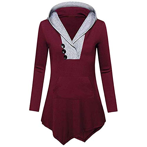 Gergeos Women Irregular Hem With Button V-Neck Sweatshirt Casual Long Sleeve Shirt(Wine Red,XXL) by Gergeos