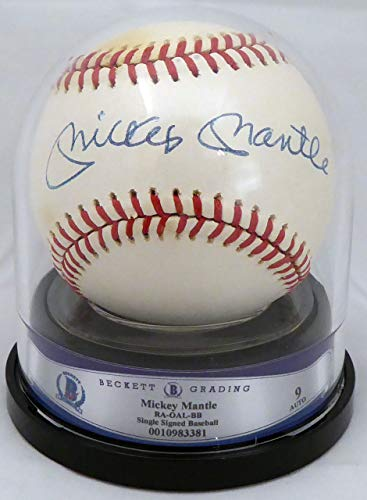 Mickey Mantle Autographed Official AL Baseball New York Yankees Graded Mint 9 Beckett BAS #0010983381 ()