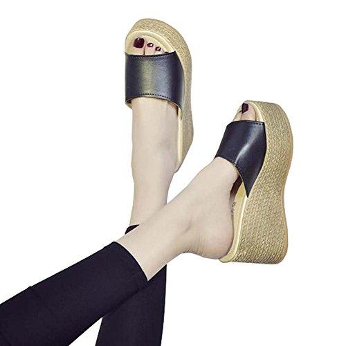 Angelliu Femmes Casual Pu En Cuir Plate Forme Cale Pantoufles Non-skiding & Poids Léger Noir