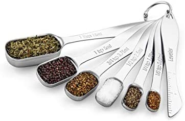 Spring Chef Heavy Duty Stainless Steel Metal Measuring Spoons for Dry or Liquid Fits in Spice Jar