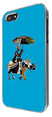 834 - Aztec African Lady Riding Rhino Unbrella Design iphone 5 5S Coque Fashion Trend Case Coque Protection Cover plastique et métal
