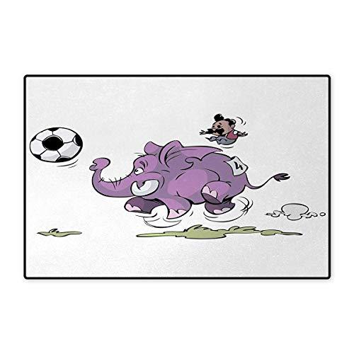 Siamese Elephant - Elephant,Door Mats,Elephant Playing Soccer with a Kid Mario Moustache Sports Decor Football Print,Bath Mat Bathroom Mat with Non Slip,Purple White 32