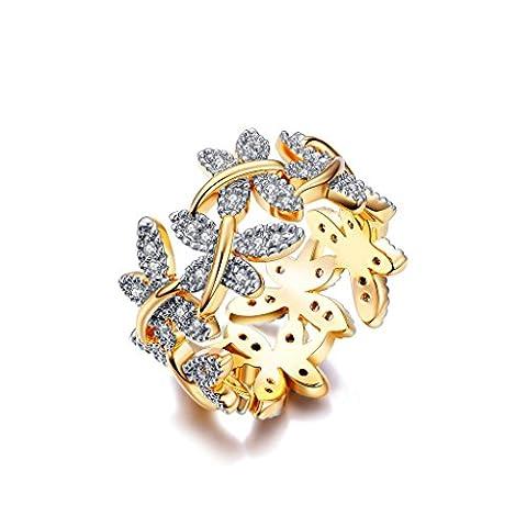 NEWBARK 10 Butterflies 18k Yellow Gold Plated Cubic Zircon Women's Rings Size 6.5 (Cubic Zirconia Gold Rings)