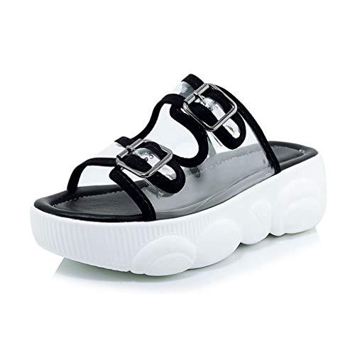 MIOKE Womens Platform Clear Slide Sandals Buckle Strap Open Toe Slip On Comfort Summer Jelly Wedge Sandal