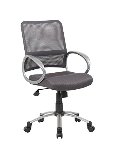 Drafting Office Chair Grey Loop - Boss Office Products B6416-CG Mesh Back Task Chair with Pewter Finish in Charcoal Grey