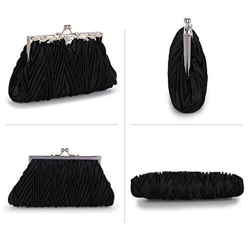 Clutch Bag Size Black 1 With Purse Design Large Wedding Chain Diamante Flower Designer Satin For Bridesmaid New FpprqOx