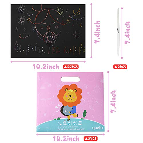 Koogel Scratch Painting Kits,20 Pcs Scratch Art Kit Cartoon Scratch Art Set Animal Scratch Art for Childrens Painting Art Creation Painting Teaching