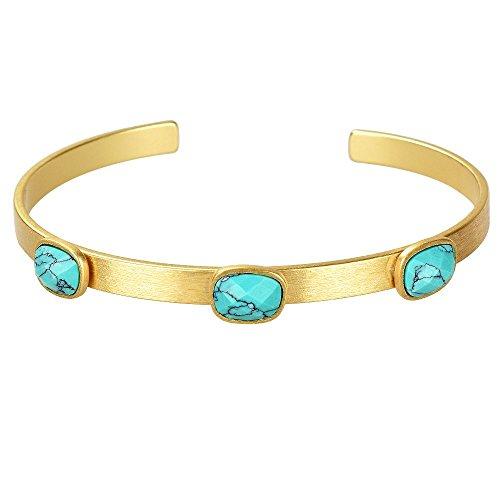 Miraclelove Handmade Brass Gold Bangle Semi Pricious Stones Cuff Bracelet, 2.55