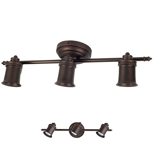 3 Bulb Wall or Ceiling Mount Track Light Fixture Kitchen and Dining Room - Oil Rubbed Bronze