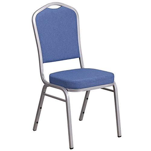 Flash Furniture Hercules Series Crown Back Stacking Banquet Chair with Blue Fabric & 2.5'' Thick Seat - Silver Frame