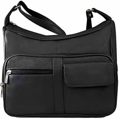 9ac553c858aee Silver Fever Medium Handbag - Soft Genuine Leather - Ladies Shoulder Daily  Organizer (Black)