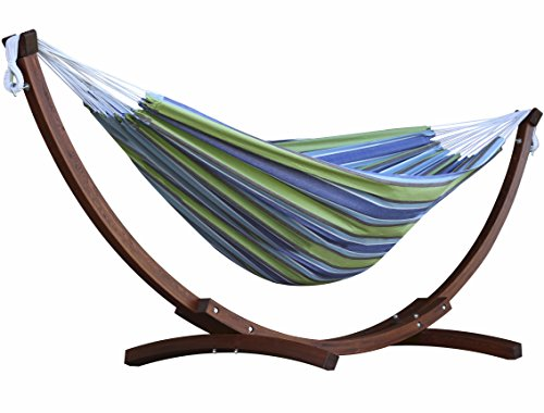 Vivere Hammocks 8-ft Striped Cotton Double Hammock with Wood