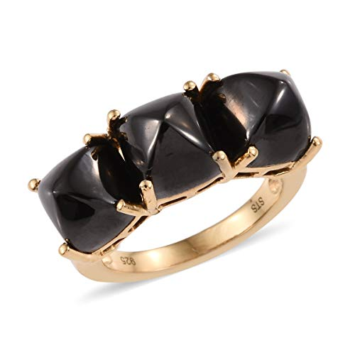 (3 Stone Ring 925 Sterling Silver Vermeil Yellow Gold Cushion Shungite Jewelry for Women Size 7)