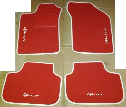 Blanc SonCar Set complet de tapis sur mesure pour voiture produit artisanal 100//% fabriqu/é en Italie Tapis de voiture sur mesure avec broderie
