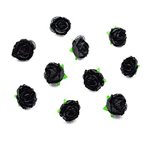 HZOnline Artificial Silk Roses Flower Head, 1.6 inch Fake Flowers Heads Fabric Artificial Floral Supplies for Wedding Engagement Cake Decor (50PCS Black) 11