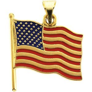 (American Flag Pendant 14K Gold )
