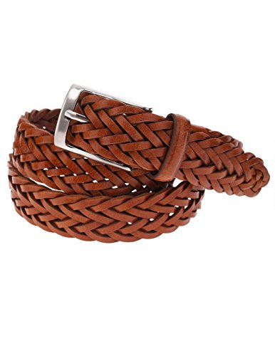 Braided Square Buckle Belt - FLATSEVEN Mens Braided Elastic Stretch Leather Belt with Square Silver Buckle (Y413) LightBrown