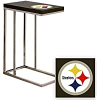 Black Laminate (Formica) and Chrome Finish Slide-Under TV Tray/End Table with Your Choice of Football Team Logo (Steelers)