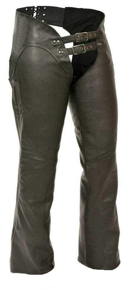 Women's Double-Belted Leather Chaps. Hip Hugging Curvy Fit (Medium)