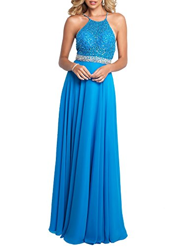 Beauty Bridal Crystal Prom Dress Long 2018 Beading Chiffon Wedding Party Gowns Formal S063 (12,Blue)