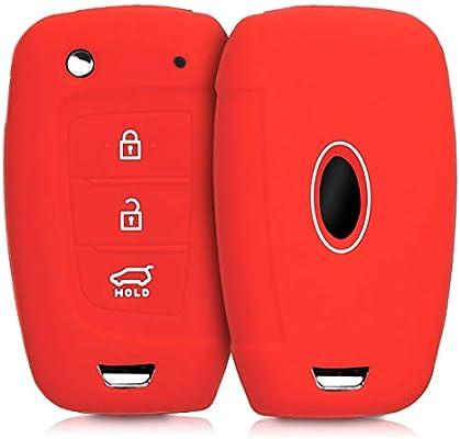 kwmobile Funda de Silicona para Llave Plegable de 3 Botones para Coche Hyundai - Carcasa Protectora [Suave] de [Silicona] - Case Mando de Auto [Rojo]