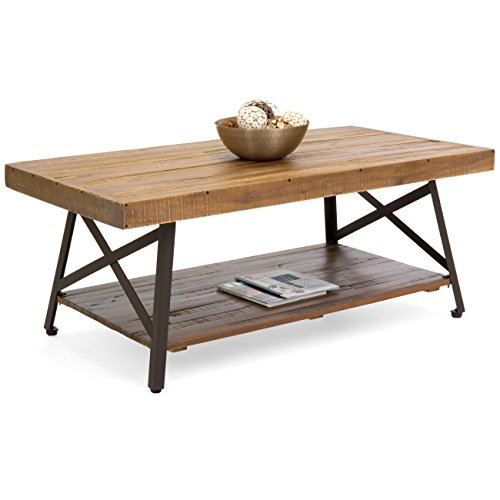 Best Choice Products Cocktail Wooden Coffee Table for Living Room Den (Brown)