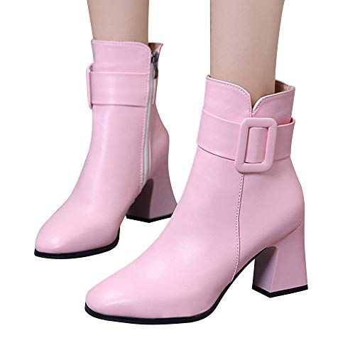 (Outtop(TM) Women Winter Martain Boots Lady High Heel Short Ankle Booties Shoes (US:5.5, Pink))