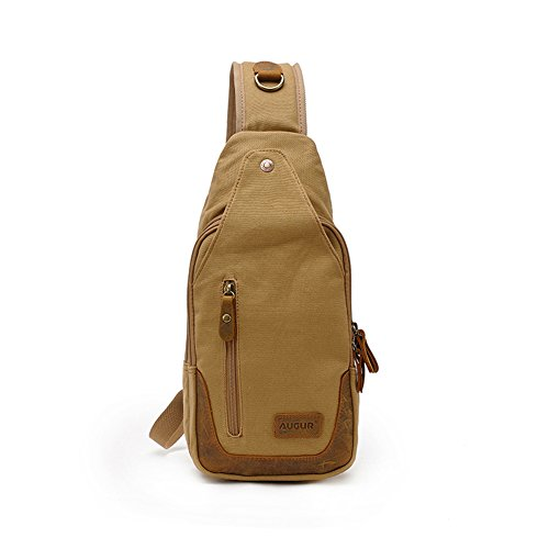Zenness lienzo bolso único de alta capacidad de bolsa en el pecho (café) Caqui
