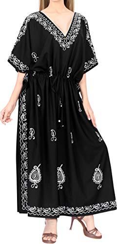 LA LEELA Womens Midi Caftan Casual Dress Night Gown Beach Cover Ups Drawstring