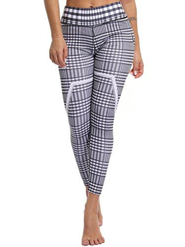 - CFR Active Leggings Fashion Women's Lattice Pattern Yoga Pants Checkered Leggings Fitness Capris Black+White M