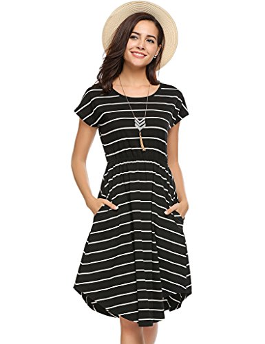 A-line Jersey - Women's Casual Cinched Waist A-Line Knee-Length Jersey Dress with Pockets Black,XL