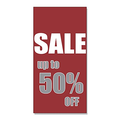 Sale Up To 50% Off DECAL STICKER Retail Store Sign - 4.5 x 12 - 50 Sale Up To Off
