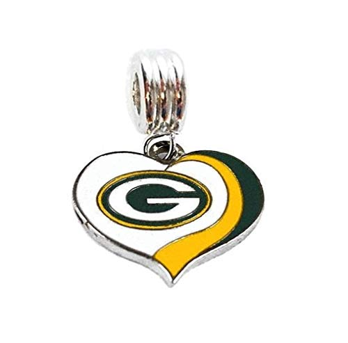 GREEN BAY PACKERS FOOTBALL HEART CHARM SLIDER PENDANT ADD TO YOUR NECKLACE EUROPEAN BRACELET DIY PROJECTS ETC.