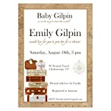 Set of 12 Customizable Personalized Baby Shower Invitations and Envelopes with Travel Theme Gender Neutral NV090