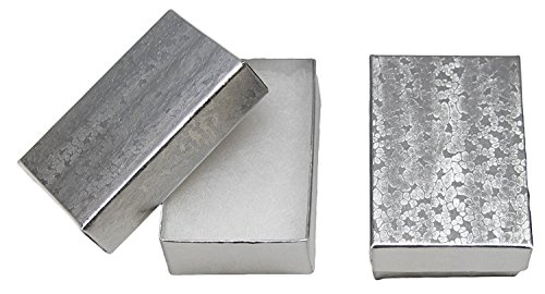 Novel Box® MADE IN USA Jewelry Gift Box in Silver With Removable Cotton Pad 2.5X1.8X1