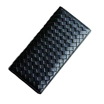 Hand-Woven Men's Wallet Leather Long Section Thin Wallet Pockets Credit Card Holder
