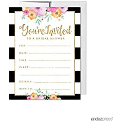 Andaz Press Floral Gold Glitter Print Wedding Collection, Blank Bridal Shower Invitations with Envelopes, 20-Pack