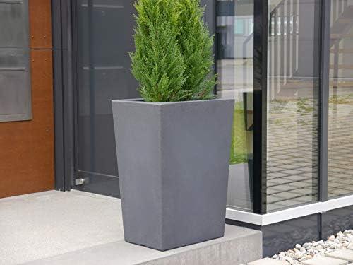 Macetero Elba de plástico Isotronic – 50 x 36 x 70 cm en antracita, maceta, macetas, grande: Amazon.es: Jardín